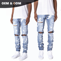 OEM fashion bulk wholesale china new style boys pants mens skinny ripped distressed splash denim trousers blue jeans for men 270