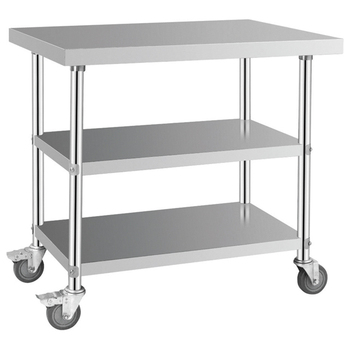 Stainless Steel Kitchen Prep Work Table With Wheels