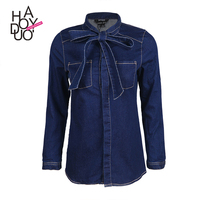 HAODUOYI Women Long Sleeve Bow Tie Denim Shirt Wholesale