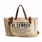 Durable Canvas Fabric Hand Bag Women's Tote Weekend Leather Handle Large Women Handbag with Extra Sling Strap