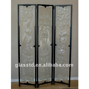 Carved Casting Glass Folding Partition Wall As Screens