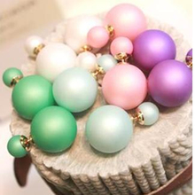 2015 colored genuine branded developed trendy cute charm pearl double ball-statement earrings jewelry accessories for women