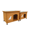 Double outdoor wood handmade dog kennel