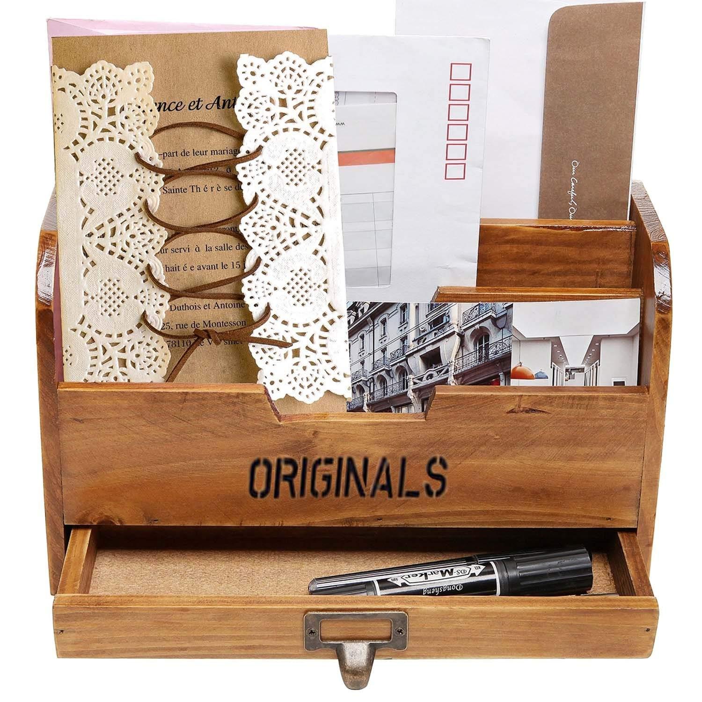 Lavenz Multifunction Wooden Home Office Desk Paper File Letter Mail Box Storage Sorter Holder Desktop Key Pen Pencil Organizer