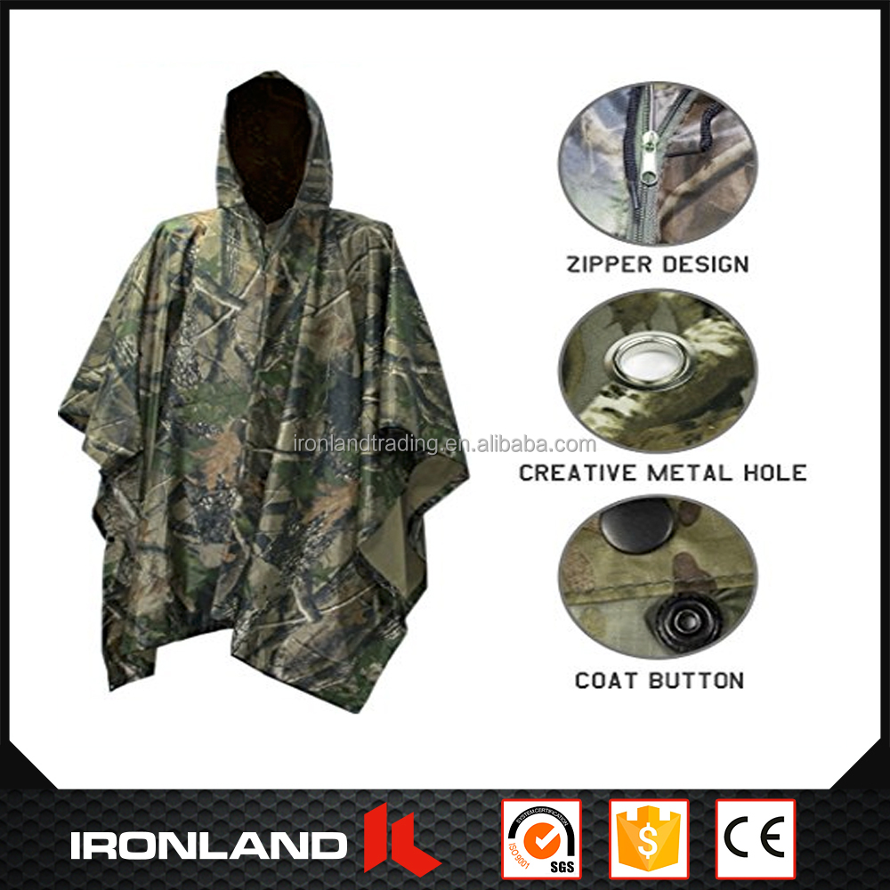 wholesale camouflage 100% polyester e-scooter reusable rain poncho