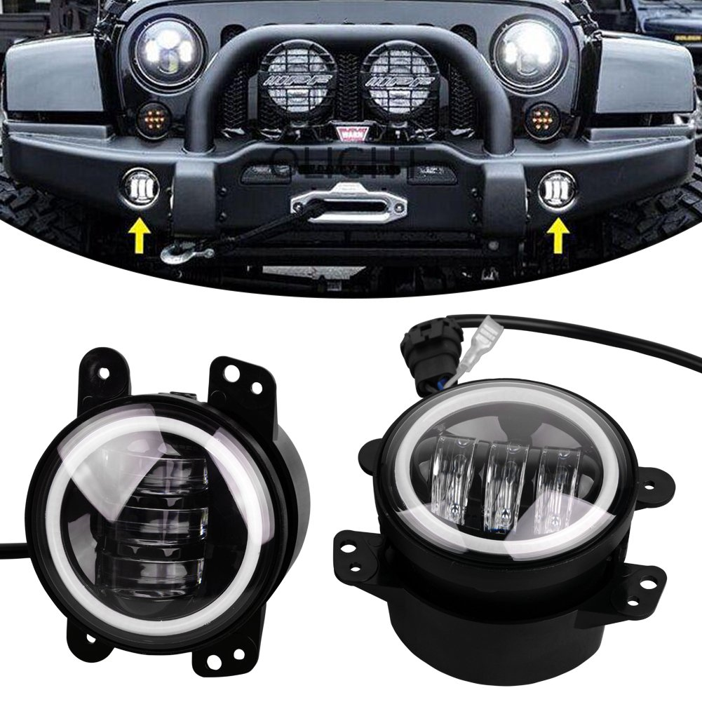 Cheap Fog Lights Jeep Find Deals On Line At Alibabacom Wrangler Light Bulbs Get Quotations Yitamotor 4inch 60w Cree Led With White Halo Ring Angel Eyeswith Drl