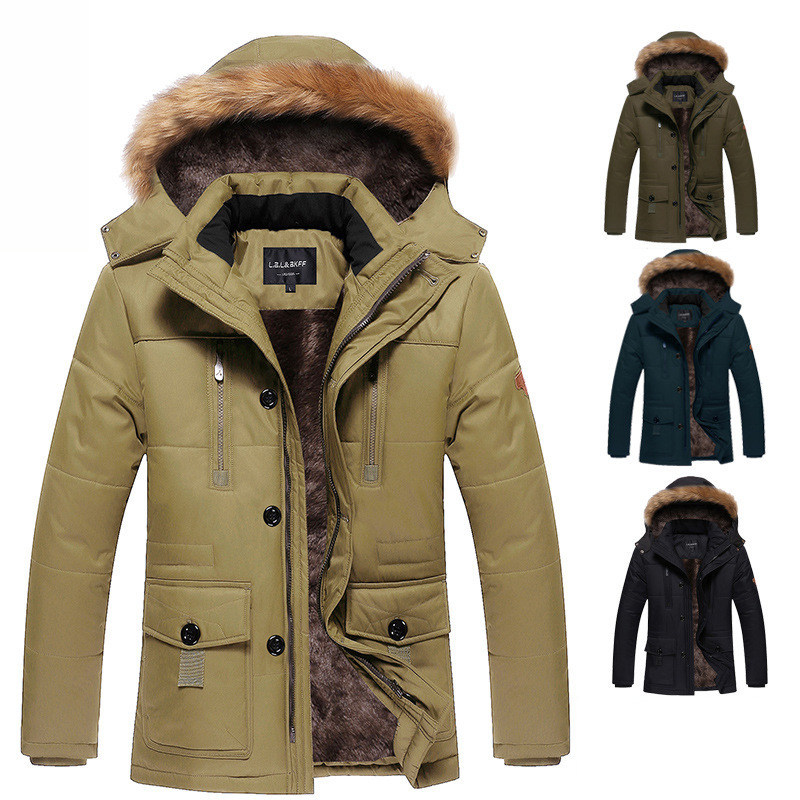 1.4KG Thick Warm Mens Raccoon Fur Collar Hooded Coat Plus Size Long Winter Parka Men Casual Cotton Padded Coat 4XL 5XL G128