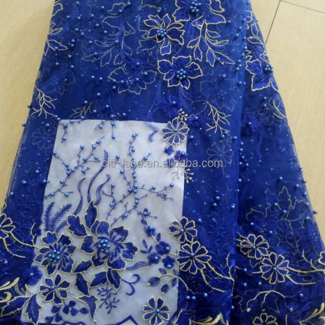 j747-3 African Lace Fabric 2017 gold Embroidered flower beads Nigerian Laces Fabric Bridal French Tulle