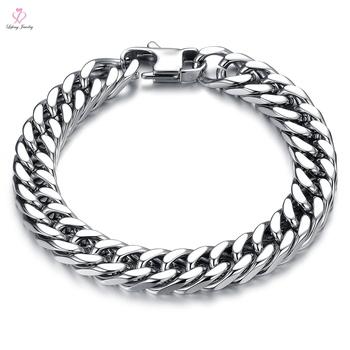 Indian Men New Design Slave Solid Gold Chain Bracelet Mexican Saudi Arabia Jewelry White