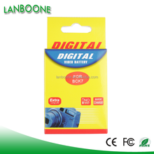 Competitive High Quality Digital Camera Battery Pack BCK7 fit forDMC-S1,FX77, FS37, FS35, FS18, FS16, S3,FP5 with long life use