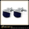 Blue painting silver plated metal cufflinks for men shirt jewelry men cufflinks
