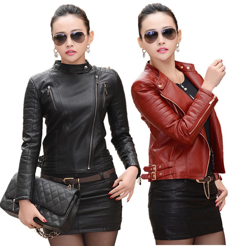 Compra señoras chaqueta de cuero rojo online al por mayor