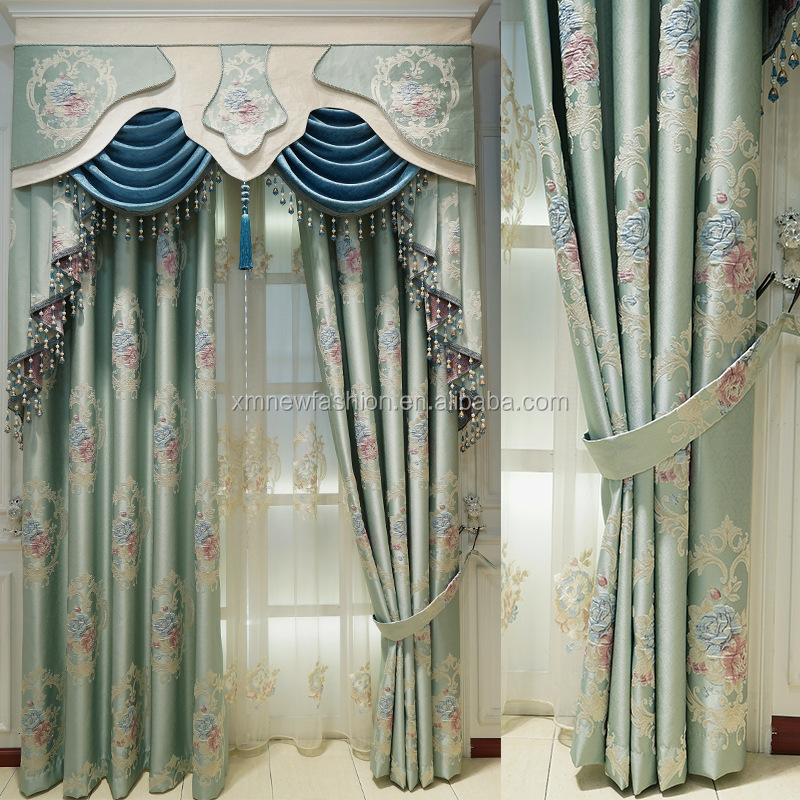 luxury european style blackout window curtain with valance set