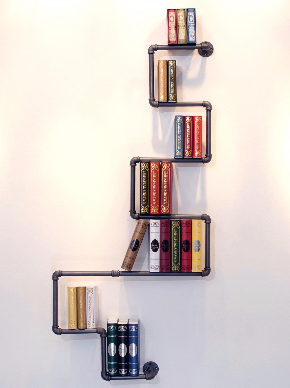 steampunk wall mount iron pipe bookshelf