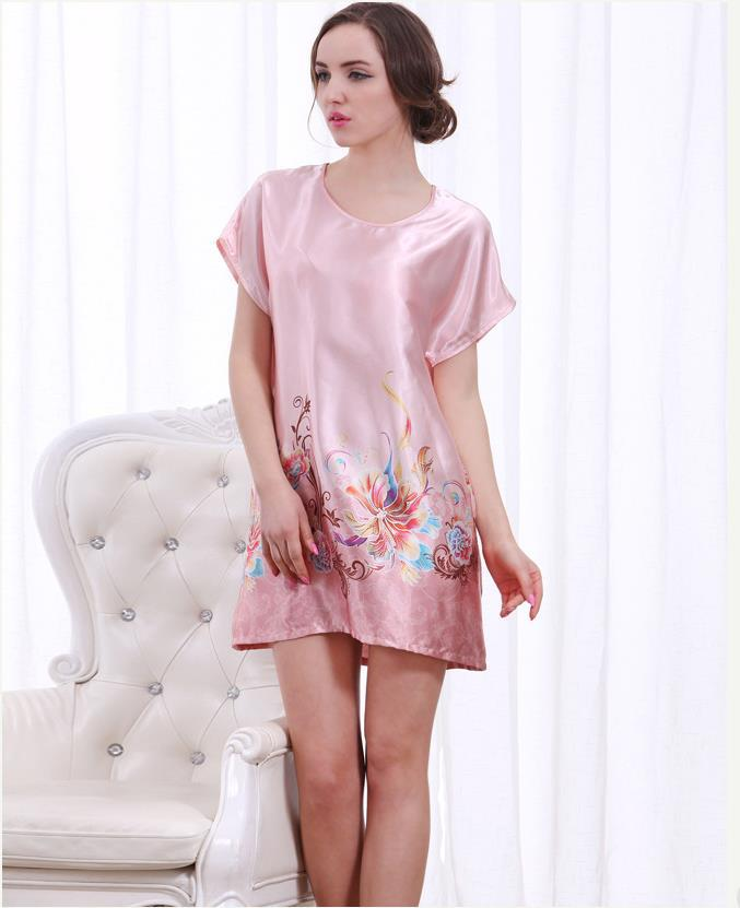 Get Quotations · Hot 2015 Summer Sexy Nightgown for Women Silk Round Neck Sleepwear  Women Nightgowns Floral Rayon Nightgowns 5a25a8876