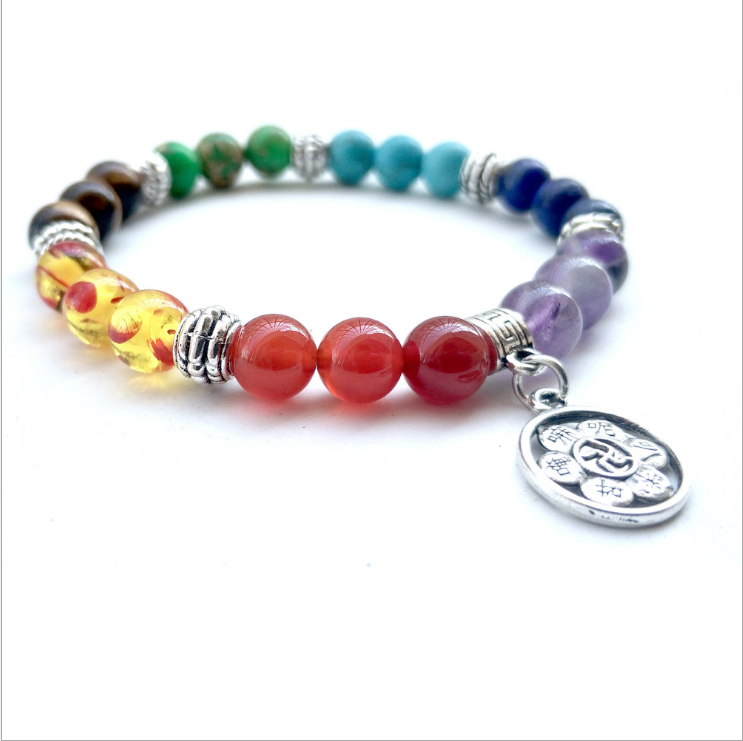 New 7 Chakra Healing Crystal Gem Stone Beads Tree of Life Lotus OM Symbol Natural Stone Stretch Bracelet