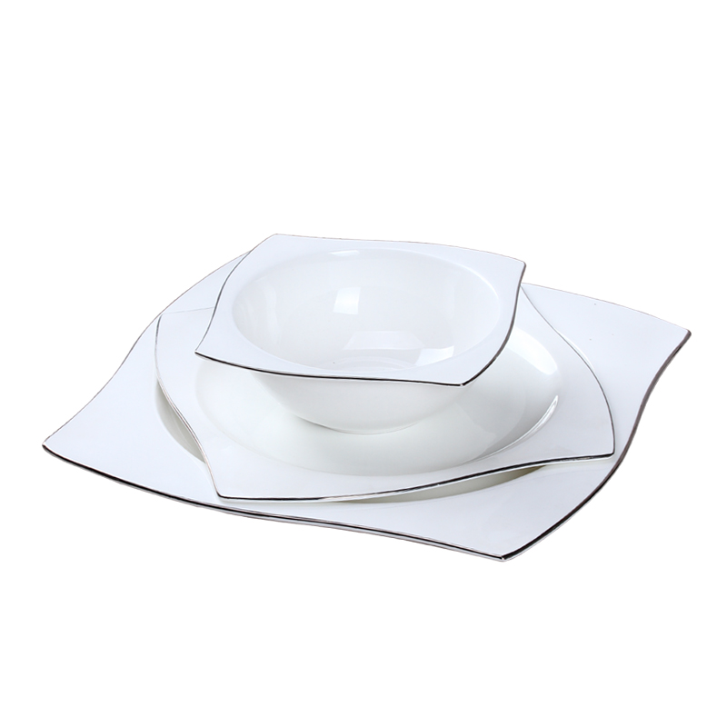 OEM/ODM White Ceramic Bone China Personalized Square Dinner Ware Sets
