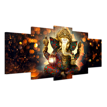 Hd Printed 5 Piece Canvas Art Hindu God Ganesha Elephant Painting Wall Pictures For Living Room Modern Canvas Wall Painting Buy Religion Canvas