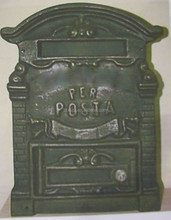 Euro Style cast iron or aluminum post mailbox, cast iron wall mailbox