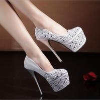 cy10357a Women Fashion Sweet White Silver Platform High Heels Wedding Shoes Bride Dress Shoes