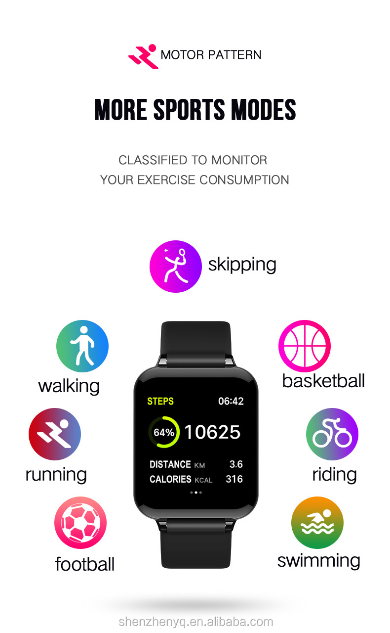 2019 bunte touchscreen Smart Uhr B57 fitness sport uhr IP67 smart armband fitness tracker mit herz rate monitor