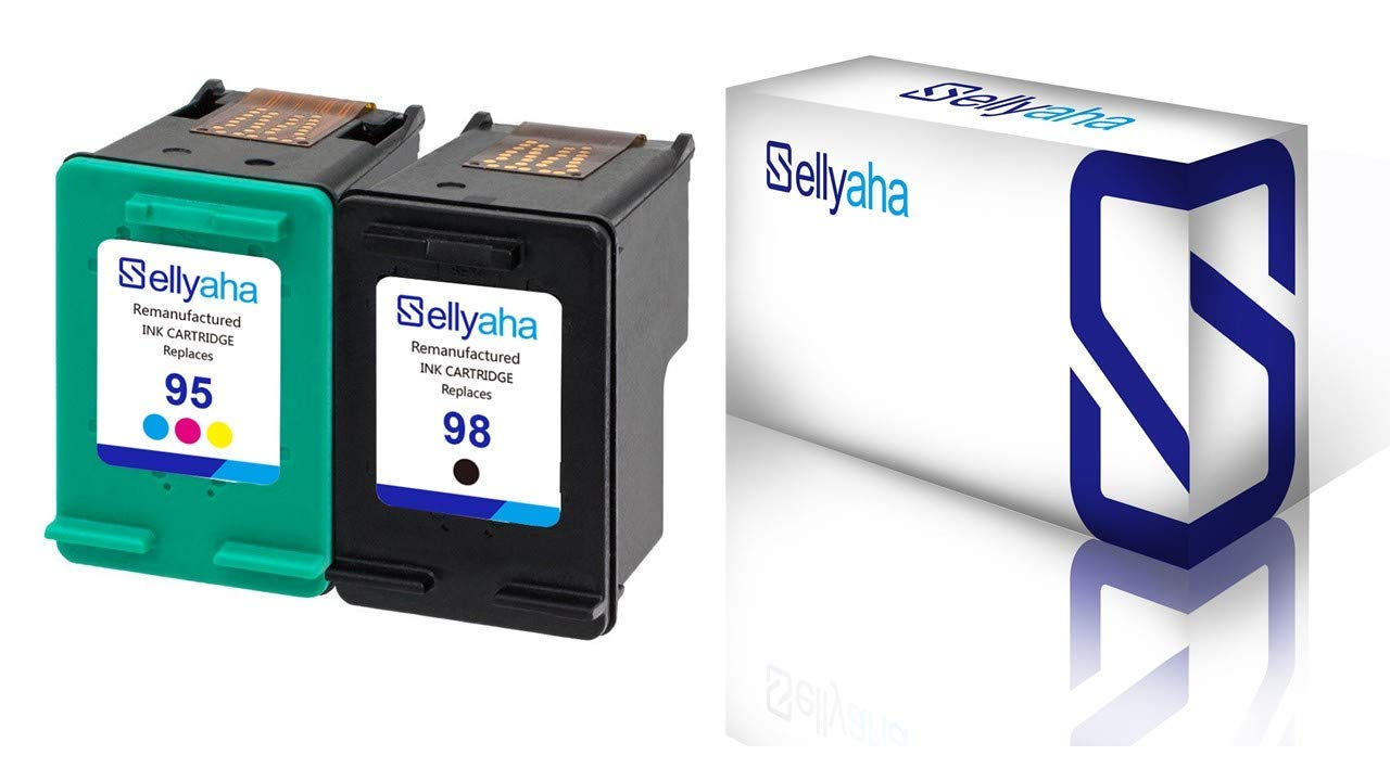 Sellyaha Remanufactured Ink Cartridge,High Yield Replacement for HP 98 C9364WN & 95 C8766WN (1 Black,1 Tri-Color) for HP Officejet 150 100 6310,PhotoSmart 8050 C4180 C4150,Deskjet 460 5940 Printer