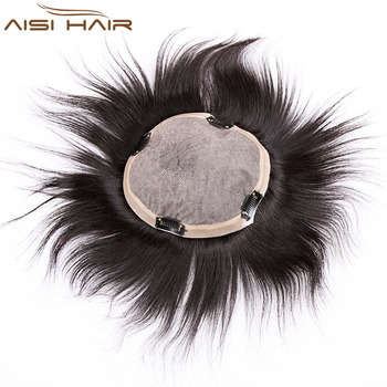 Aisi Hair Top 18x20 cm Quality Men Toupee Brazilian Human Hair Invisible Knots Silk Base Hair System