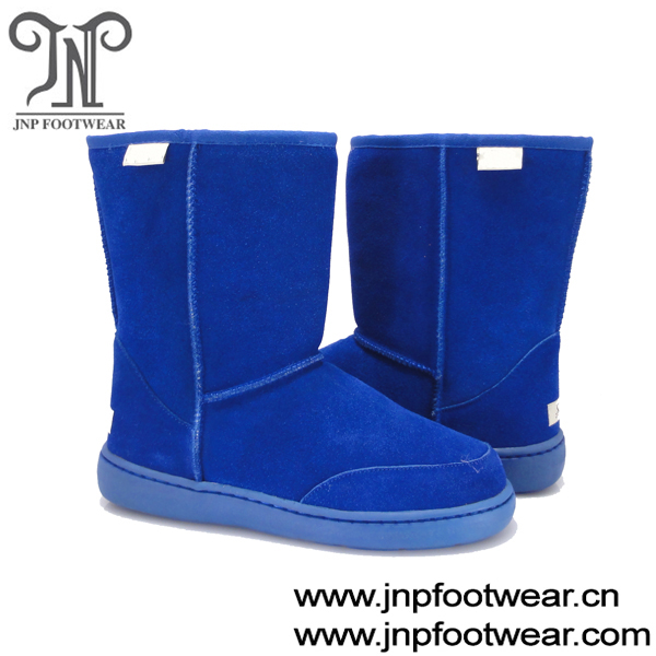 navy blue furry winter women's boots