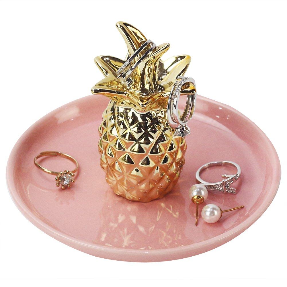 WANYA Ceramic Ring Jewelry Holder Decor Dish Organizer Cherry