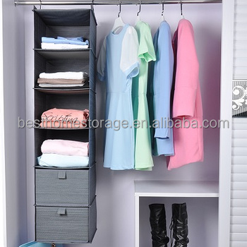 Hanging 6 Shelf Closet Organizer With 2 Drawer, Cationic Fabric,(Gray)