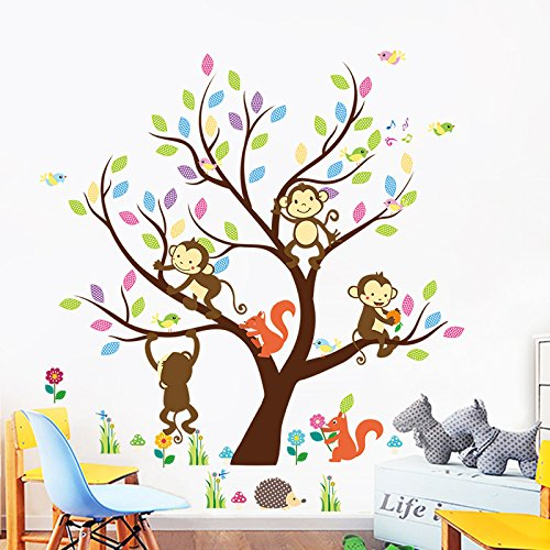 Intelligent Diy Mural Removable Wall Decal Kids Baby Room Nursery Home Decor Cartoon Animal Wall Sticker Monkey Giraffe Tree Train Art Wall Stickers Home Decor