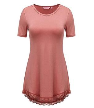 OEM wholesale Women's Short Sleeve Casual Loose T-Shirt Dress lace tunic