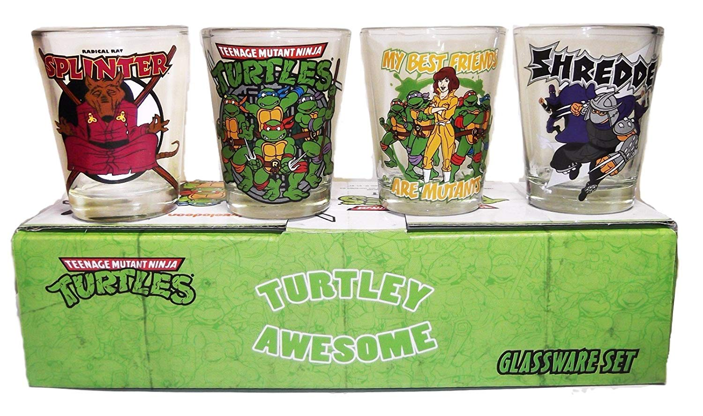 TEENAGE MUTANT NINJA TURTLES TMNT Frenemies 4 Piece 1.5oz BOXED SHOT GLASS SET