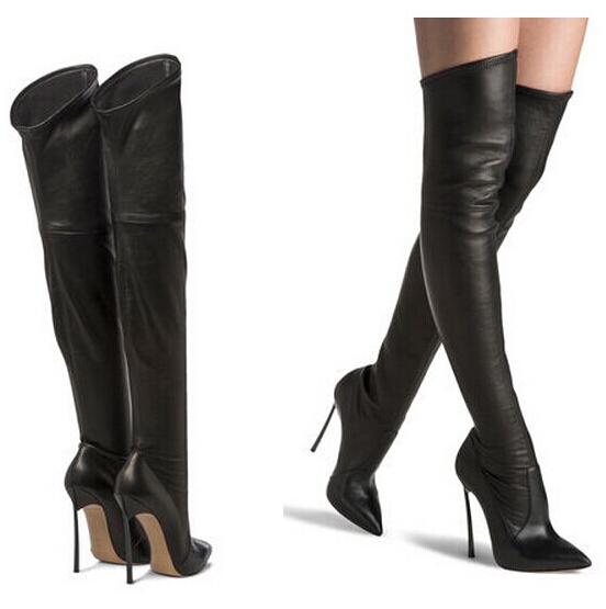 5f4aff5ac Get Quotations · New quality brand pointed thin high heels black shoes sexy  genuine leather over the knee thigh