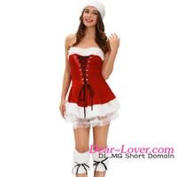 New Arrival Sexy 3 Piece Red Velvet Corset Set Women Christmas Costumes