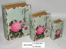 Nice beautiful flowers on white style upright wooden book box