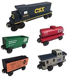 CSX RAILWAY GP-38 Diesel 5pc. Set - Wooden Toy Train by Whittle Shortline Railroad - Manufacturer