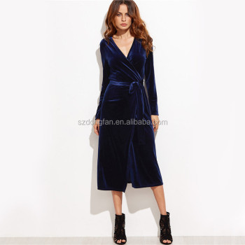f1f4708f4139 Fall Long Sleeve Dress Deep V Woman Sexy Dress Navy Blue Velvet Wrap Dress