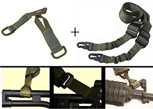 Ultimate Arms Gear IDF Israeli Defense Forces Pair of Slip On OD Olive Drab Green Loop Adapter Attachment with D-Ring + Sling, OD Olive Drab Green For Beretta CX4 Rifle & 12 & 20 Gauge Shotgun
