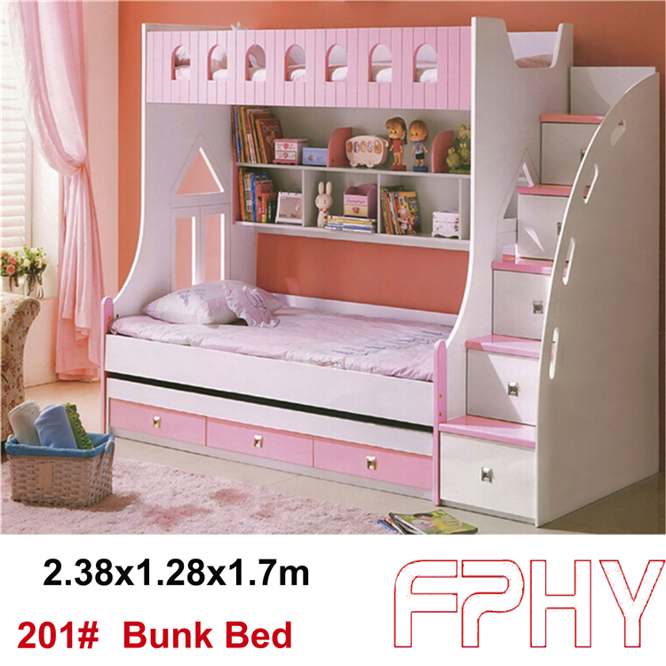 FPHY Modern Children Bedroom furniture MDF wooden colorful bunk bed for kids