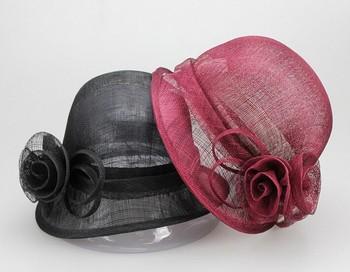 61247d5318d China factory plain wedding sinamay hats ladies designer hats for church