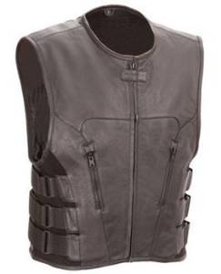 The Nekid Cow Mens Premium Black Leather Motorcycle Swat Team Vest w/ Interior Armor (Black, Small) -Tactical Outlaw Black Biker Vests - Law Enforcement Style Protective Armor Side Adjustment (Small)