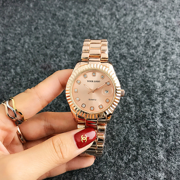 Diamond numeral Rose gold watch Round luxury watch men japan movement brand watch for women Richports