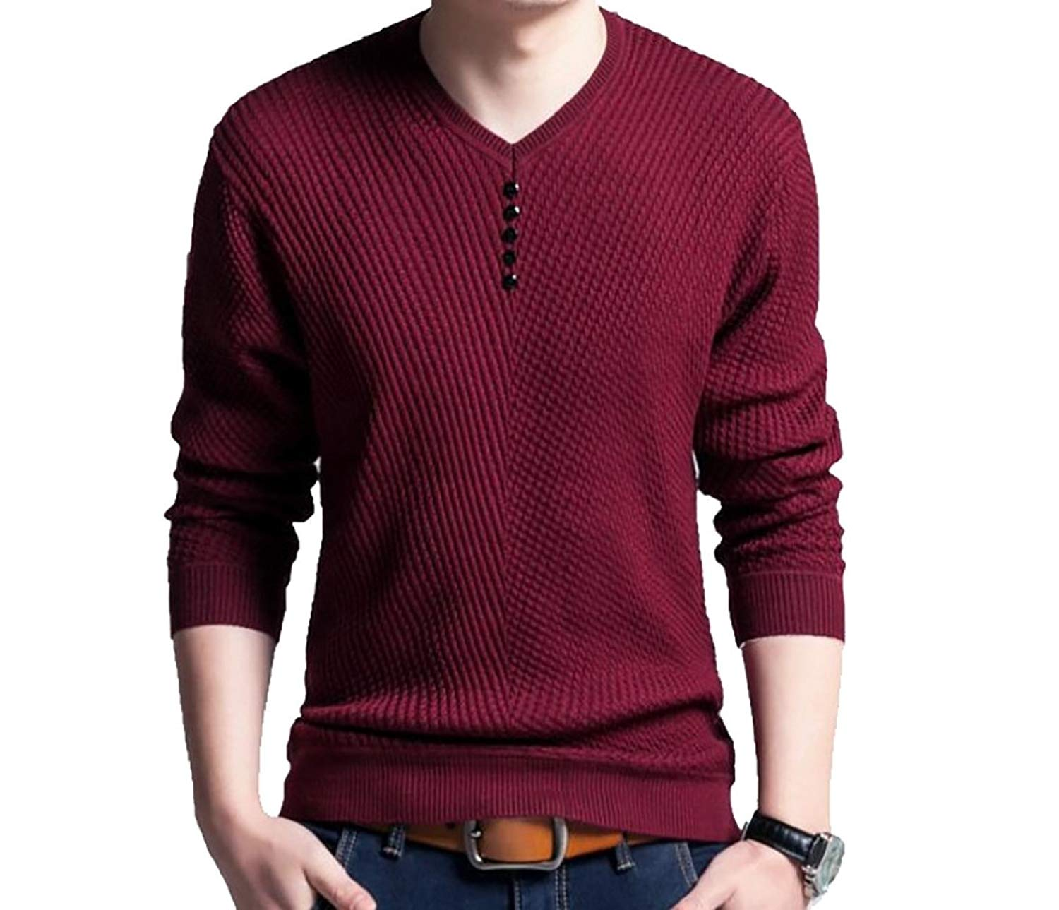 Coolred-Men Long Sleeve V Neck Slim Fit Wild Casual T-Shirts