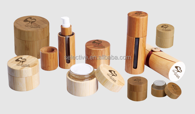 ECO friendly cosmetic packaging bamboo cream container glass jars with wood lid