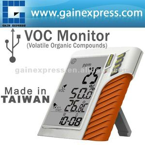 Digital USB Wall mount / Desktop Volatile Organic Compounds (VOC) Temperature Date and Time Monitor Made in Taiwan
