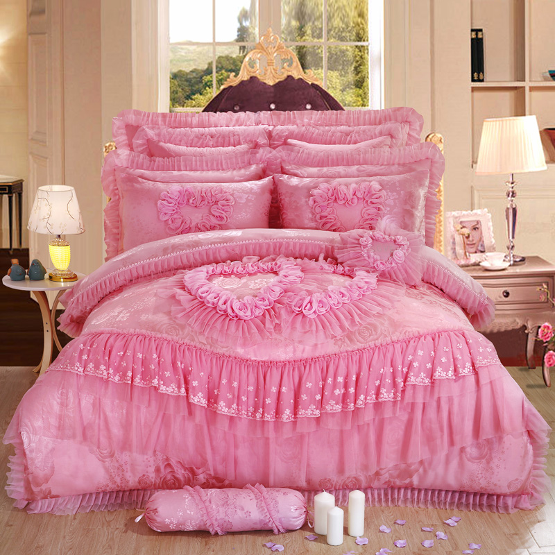 4 6 Pcs Oriental Lace Red Pink Luxury Bedding Set Queen