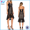 Yihao Latest Designs Girls 2016 Black Lace Party Wear Dress Ladies Casual Clothes Fashion Sexy Women Long Evening Dresses