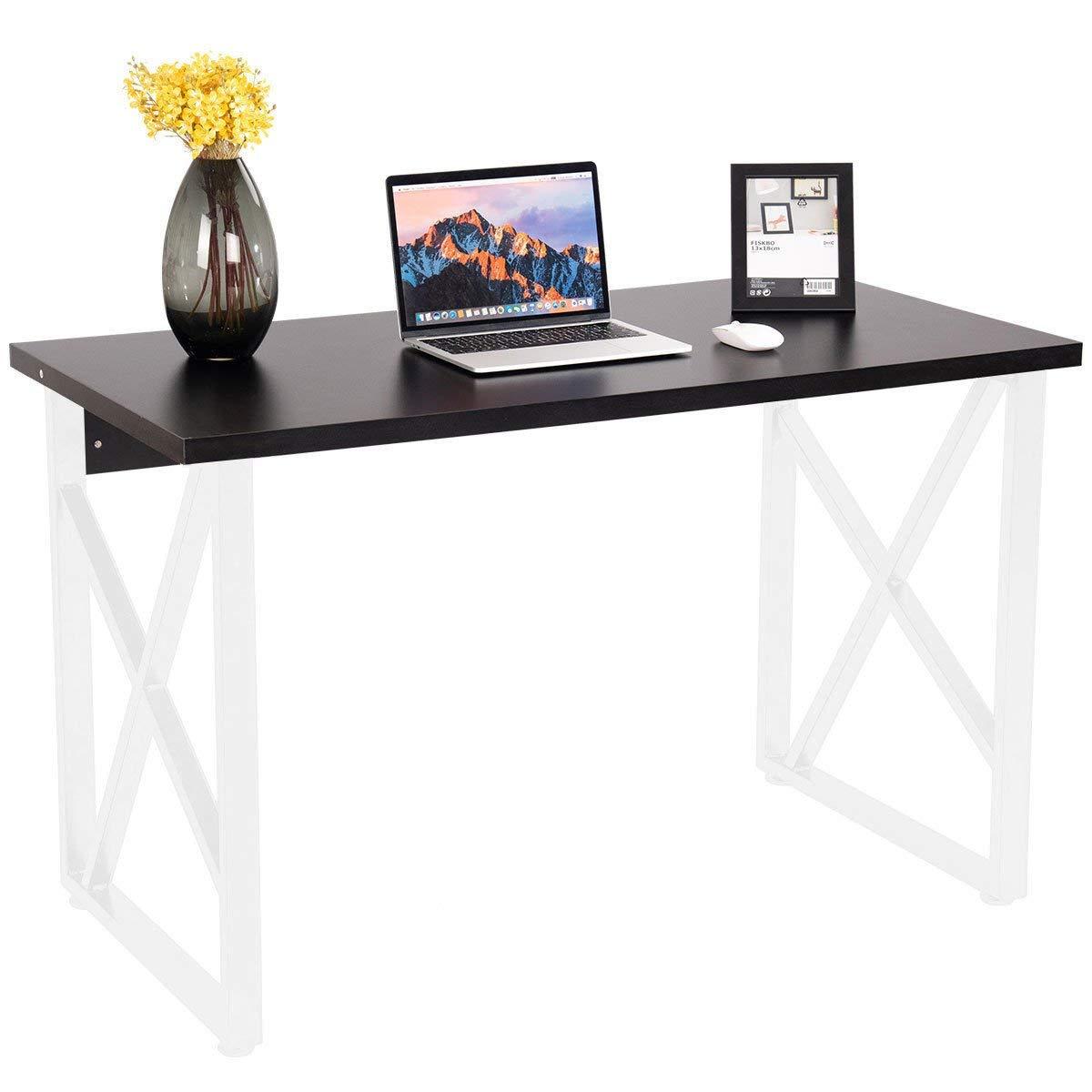 ShopForAllYou Desk Table Office Computer Desk PC Laptop Table Metal Leg Writing Study Workstation Home Office