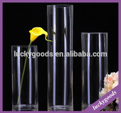 wholesale transparent decorative tall glass flower vases